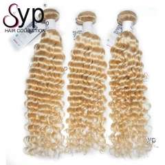 Platinum Blonde Deep Wave Curly Virgin Brazilian Hair Extensions 613 Color