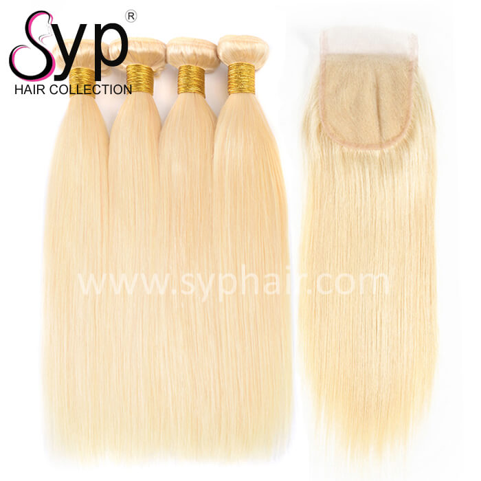 613 Blonde Hair Weave Bundle Deals With Lace Closure 4x4 Plucking Baby Hair