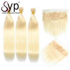 613 Platinum Blonde Virgin Hair Bundles With Frontal 13x4 Pre Plucked Hairline