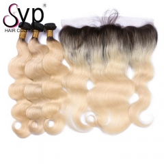 1b 613 Bundles With Lace Frontal Brazilian Body Wave Ombre Human Hair