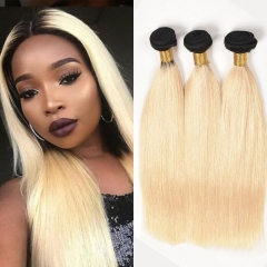 Blonde Ombre Hair With Dark Roots Straight Hair Weave Bundles 1b/613
