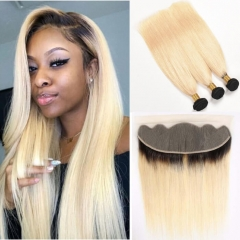 Dark Roots Ombre Human Hair Bundles With Frontal 1b 613 Black To Blonde
