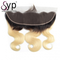 Blonde Ombre Lace Frontal Closure Black Roots Brazilian Body Wave Hair