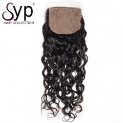 Brazilian Silk Base Closure Water Wave Human Hair Middle Part