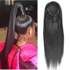 Straight Drawstring Ponytail Human Hair Extension For Women
