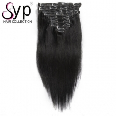 Cheap Human Hair Clip In Extensions Brazilian Straight 30 32 34 Inch
