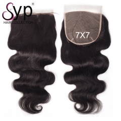 7x7 Hair Closure Swiss Lace Body Wave Brazilian Human Hair
