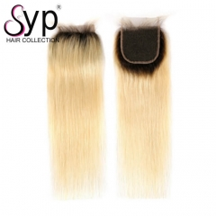 613 Blonde Ombre Lace Closure Dark Roots Virgin Hair Straight