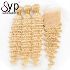 613 Platinum Blonde Deep Curly Hair Weave Bundles With Lace Closure 4x4