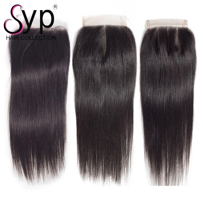 Brazilian Straight Hair Lace Closure With Baby Hair 4x4 For Sale