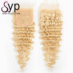 613 Honey Blonde Deep Wave Curly Human Hair Lace Closure Piece 4x4