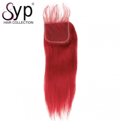 Red Straight Lace Closure Coloring Virgin Hair For Black Woman