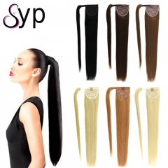 Colored Blonde Wrap Around Ponytail Hair Extension For Ladies