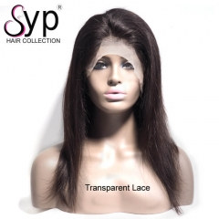 Custom Cheap Transparent Lace Front Human Hair Wig Straight 130%