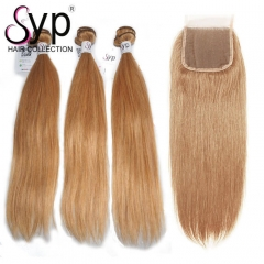 #27 Hair Bundles With Closure Dark Blonde Golden Hair Dye Color