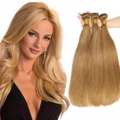 Color 27 Dark Blonde Brazilian Human Hair Weave Extensions