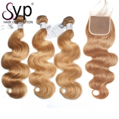 #27 Dark Blonde Human Hair Weave With Closure Brazilian Body Wave