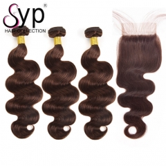 Light Brown Brazilian Hair Weave With Closure Body Wave Dye Color