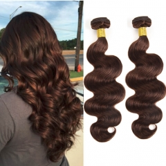 Color 4 Light Brown Human Hair Extensions Body Wave Wet And Wavy