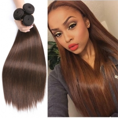 Color 4 Light Brown Straight Human Hair Weave Pre Dyed For Cheap