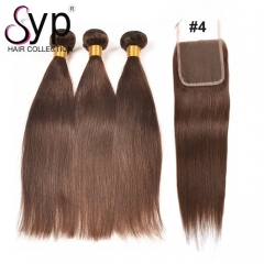 Color 4 Light Brown Human Hair Bundles With Lace Closure Straight