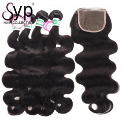 Body Wave Brazilian Virgin Hair Bundles Deals With Closure Free Shipping