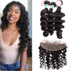 Cheap Weave Bundles With Frontal Closure Brazilian Loose Wave Hair