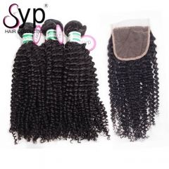 Virgin Human Hair Bundles With Closure Brazilian Kinky Curly