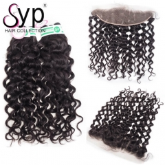 Cheap Lace Frontal With Bundles Brazilian Italian Wave Curly Hair