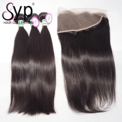 Virgin Brazilian Straight Hair Bundle Deals With Lace Frontal