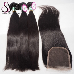 3 4 Bundles With Closure Virgin Brazilian Straight Hair Weave