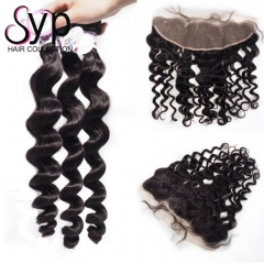 Peruvian Loose Wave Bundle Deals With Frontal Virgin Hair Factory