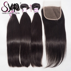 Peruvian Straight Human Hair With Closure Wholesale Bundle Deals