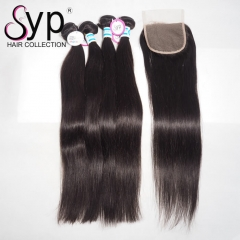 Raw Malaysian Straight Hair With Closure Thick Human Hair Bundles