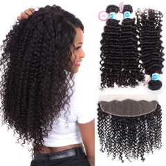 Best Malaysian Curly Hair With Frontal 100 Percent Human Hair Weave