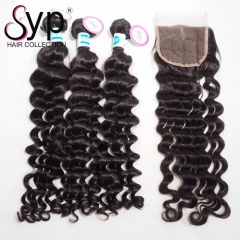 3 4 Bundles And a Closure Deal Malaysian Loose Curly Hair Weave