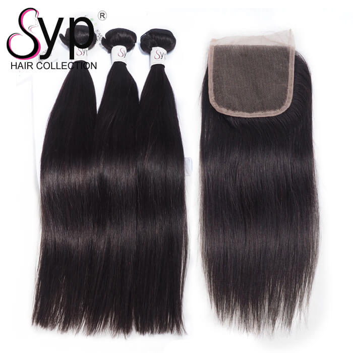 Real Mink Brazilian Hair With Closure Bundle Deals Natural Straight