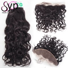 Ear To Ear Lace Frontal With Bundles Brazilian Water Wave Hair