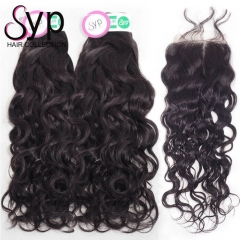 4 Bundle Deals With Lace Closure Virgin Brazilian Water Wave Hair