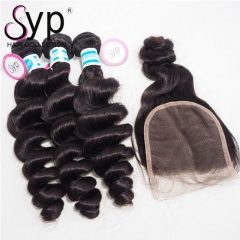 Malaysian Loose Wave Bundles With Closure One Donor Virgin Hair
