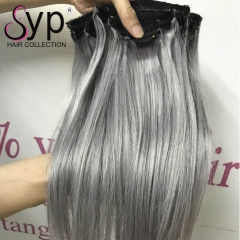 Silver Grey Clip In Human Hair Extensions 7 Pieces Full Set 100g