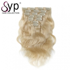 Cheap Platinum Blonde Clip In Human Hair Extensions 200g Body Wave