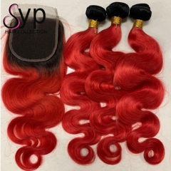 1B Red Body Wave With Closure Dark Roots Red Ombre Hair Weave