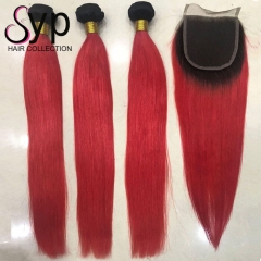 Black Roots Red Hair Weave Bundles 1B Red Human Hair With Closure