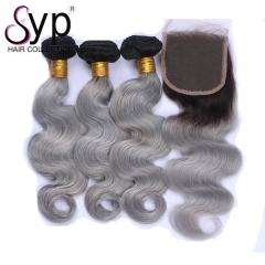 1B/Grey Hair Weave With Lace Closure Light Grey Ombre Wavy Hair