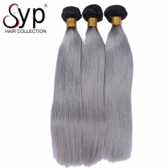 Silver Grey Hair With Dark Roots Grey Ombre Straight Hair Weave