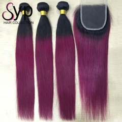 Black Roots Burgundy Hair Bundles 1B/99J Bundles With Closure