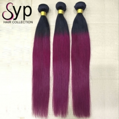 Dark Burgundy Ombre Human Hair Weave 1B/99J Straight Hair Weave
