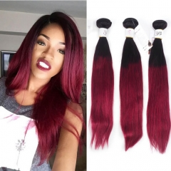 1B Burgundy Brazilian Hair Bundles Straight Burgundy Ombre Hair Weave