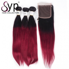 Burgundy Ombre Hair Color 1B Burgundy Hair Bundles With Closure